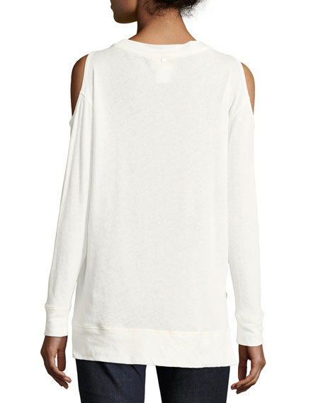 Landon Cold-Shoulder Sweater, Off-White