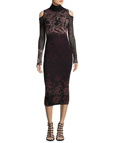 Cold-Shoulder Turtleneck Floral Lace-Print Midi Dress, Black Multi