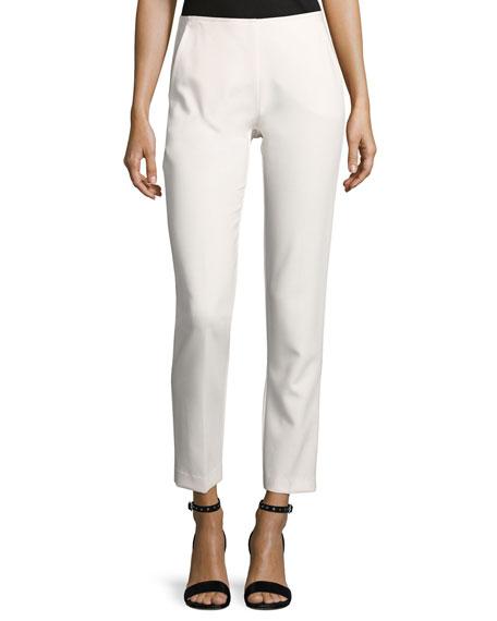 Trina Turk Varvara Cropped Luxe Drape Pants, White