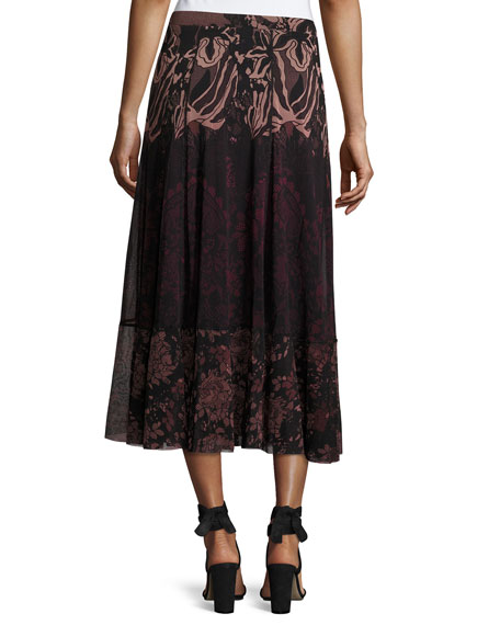 Floral Lace-Print Midi Skirt, Black/Pink