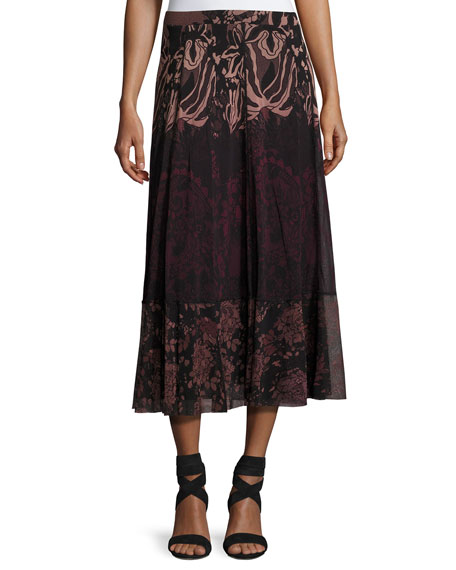Fuzzi Floral Lace-Print Midi Skirt, Black/Pink and Matching