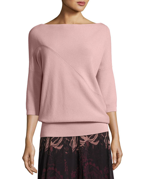 3/4-Sleeve Off-the-Shoulder Wool Sweater, Light Pink