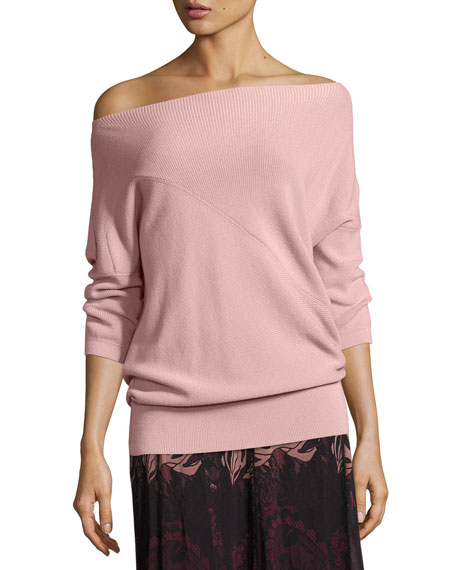 Fuzzi 3/4-Sleeve Off-the-Shoulder Wool Sweater, Light Pink