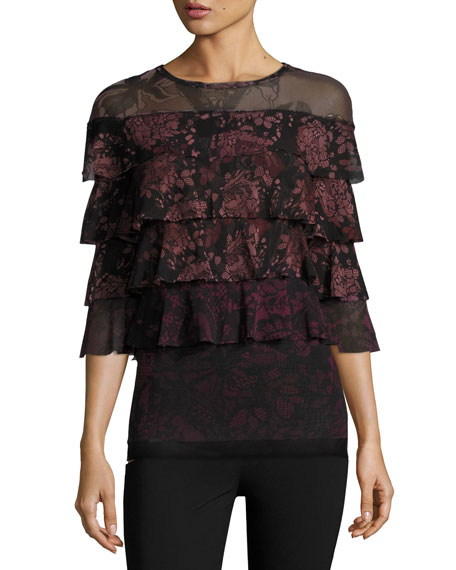 Fuzzi 3/4-Sleeve Ruffled Floral Lace-Print Blouse, Black/Pink