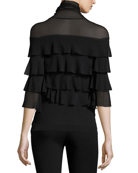 Ruffled 3/4-Sleeve Turtleneck, Black