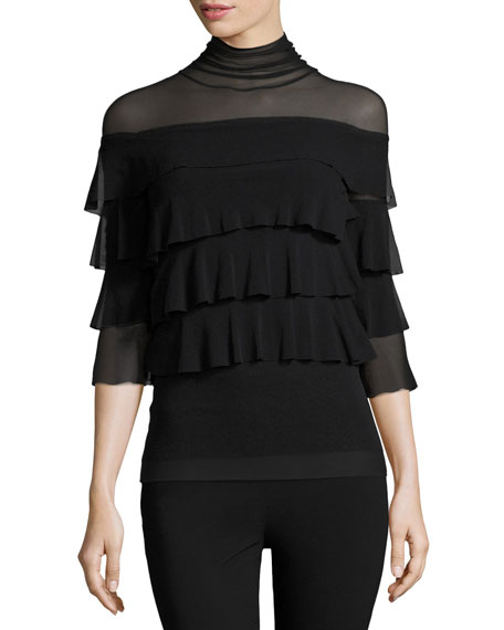 Fuzzi Ruffled 3/4-Sleeve Turtleneck, Black