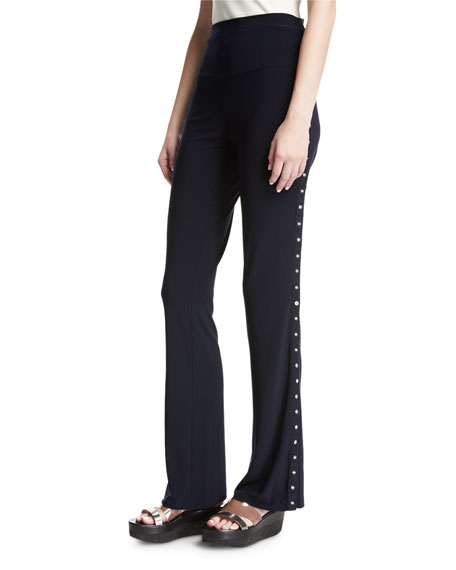 Norma Kamali Side-Snap Boot Pants, Navy