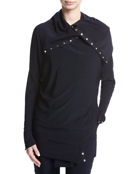 Norma Kamali Side-Snap Long-Sleeve Pullover Jacket, Navy