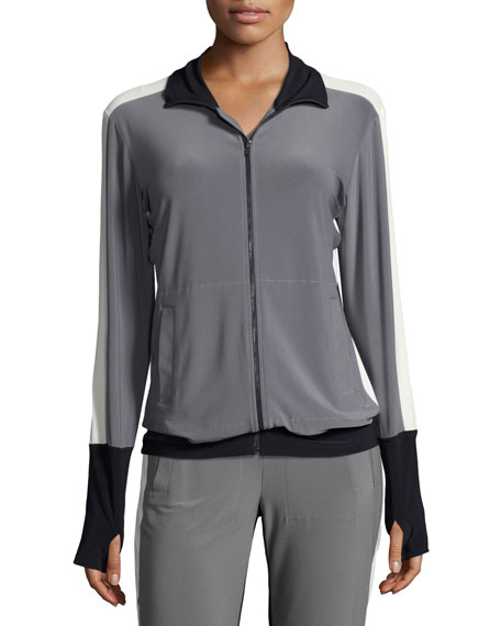 Side-Stripe Turtle Athletic Jacket, Gray