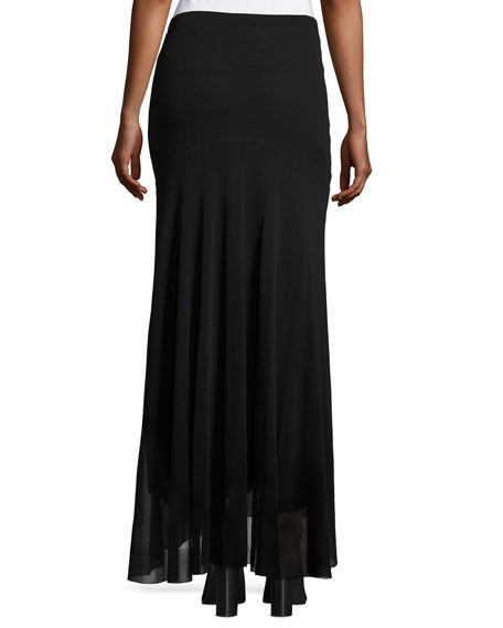 Flowy Mesh Maxi Skirt, Black