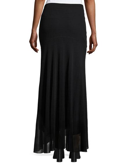 Flowy Mesh Maxi Skirt, Black