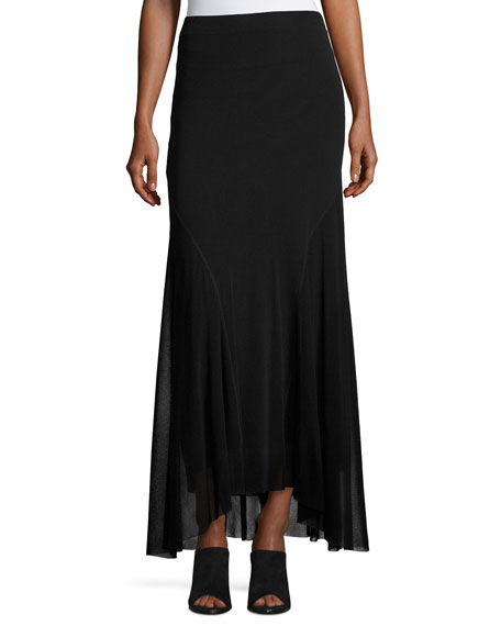 Fuzzi Flowy Mesh Maxi Skirt, Black and Matching
