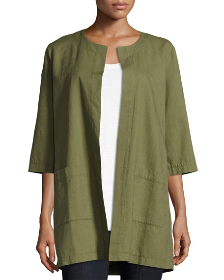 Eileen Fisher Cross-Dyed Long Jacket, Olive