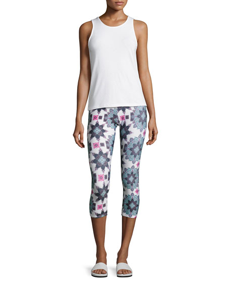 Graphic Capri Athletic Leggings, Multipattern