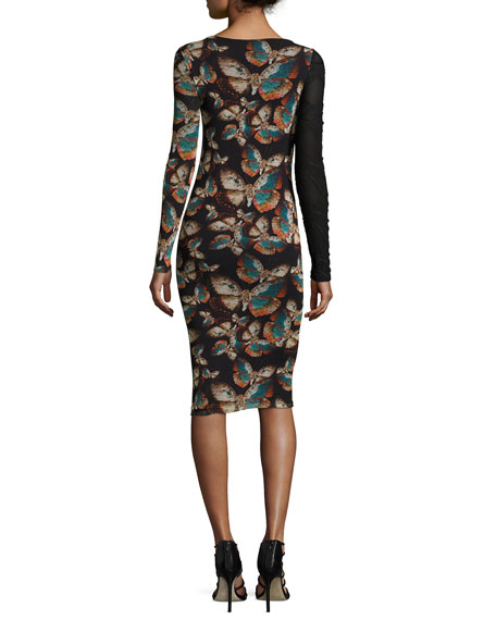Long-Sleeve Butterfly-Print Cutout Sheath Dress