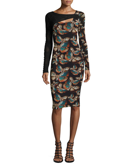 Fuzzi Long-Sleeve Butterfly-Print Cutout Sheath Dress
