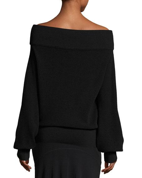 Oversized Off-the-Shoulder Sweater, Black