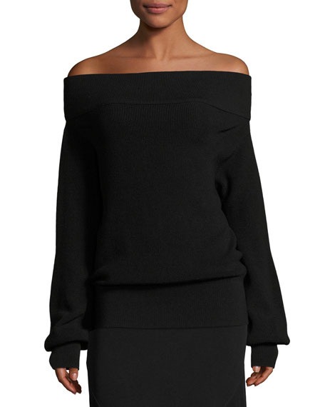 Fuzzi Oversized Off-the-Shoulder Sweater, Black
