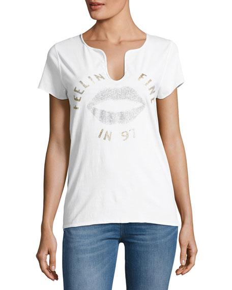 Zadig & Voltaire Glitter Wedding Henley Cotton T-Shirt,