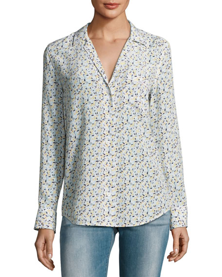 Equipment Keira Long-Sleeve Silk Shirt, White Pattern