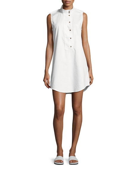 Equipment Freda Sleeveless Cotton Shift Dress, White