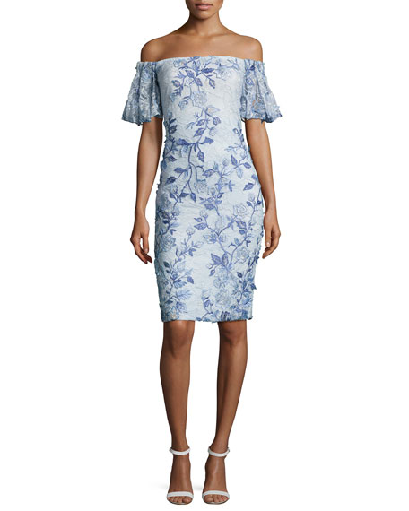 Badgley Mischka Off-the-Shoulder Embroidered Lace Cocktail Dress,