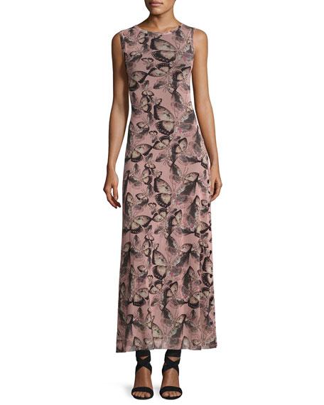 Sleeveless Butterfly-Print Maxi Dress, Pink Multi