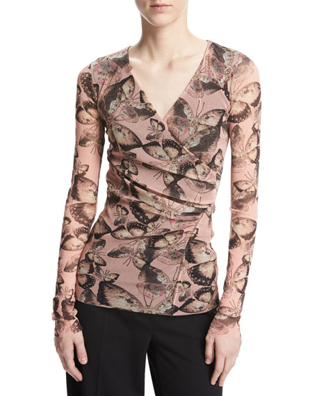 Fuzzi Long-Sleeve Butterfly-Print Top, Pink