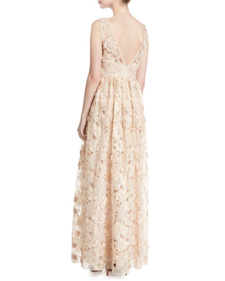 Sleeveless Floral Lace Ruffle Gown, Peach