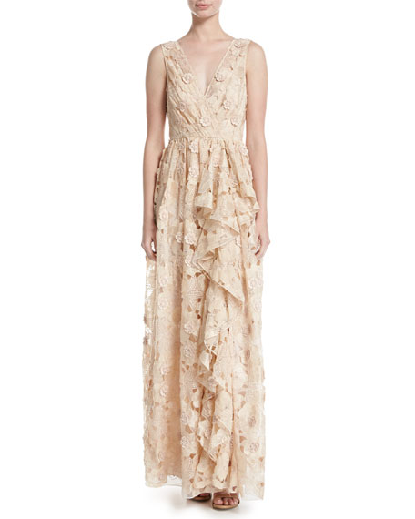 Badgley Mischka Sleeveless Floral Lace Ruffle Gown, Peach