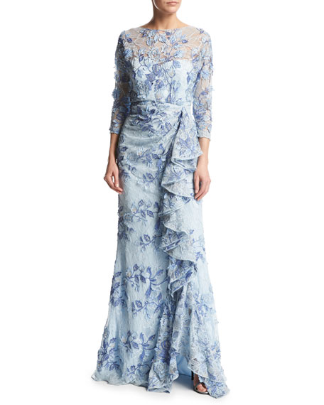 Badgley Mischka 3/4-Sleeve Embroidered Floral Lace Gown, Light