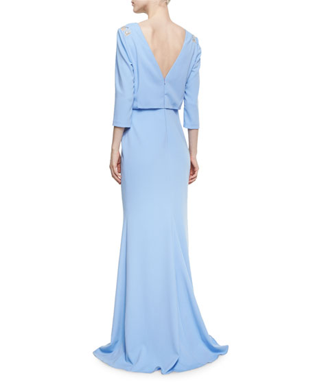 3/4-Sleeve Floral Mesh Stretch Jersey Gown, Periwinkle
