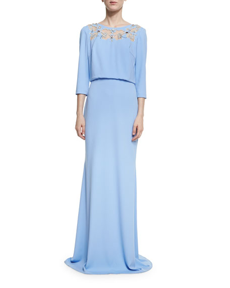Badgley Mischka 3/4-Sleeve Floral Mesh Stretch Jersey Gown,