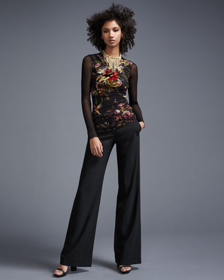 Long Mesh-Sleeve Floral-Embroidered Top, Black Multi