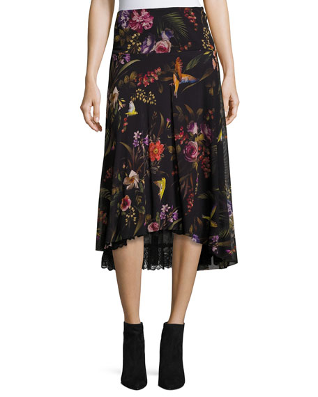 Floral-Print Midi Skirt w/ Lace Underlay