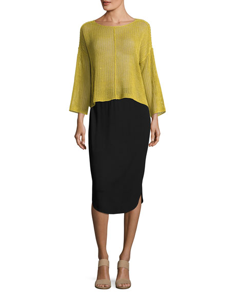 Eileen Fisher Calf-Length Shirttail Pencil Skirt, Black, Petite