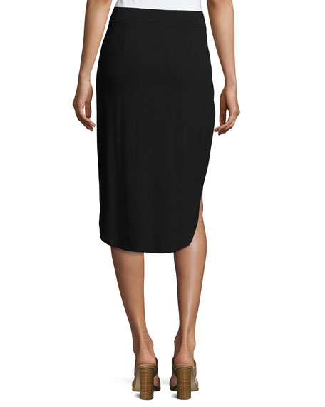 Calf-Length Shirttail Pencil Skirt, Black