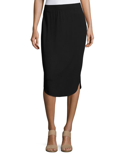 Calf-Length Shirttail Pencil Skirt, Black
