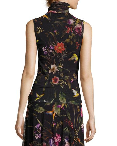 Sleeveless Floral-Print Turtleneck, Black Multi