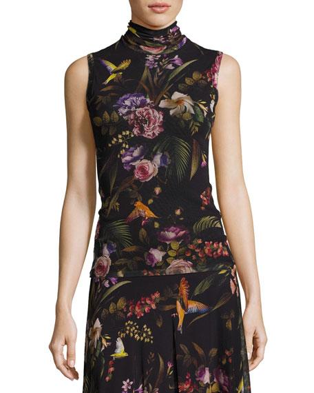 Fuzzi Sleeveless Floral-Print Turtleneck, Black Multi