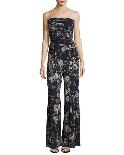 Strapless Botanical-Print Jumpsuit, Navy