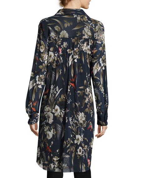 Long-Sleeve Button-Front Botanical-Print Tunic, Navy