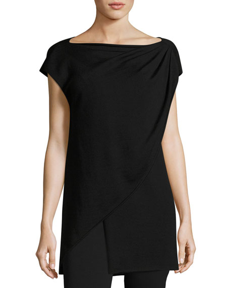 Fuzzi Cap-Sleeve Asymmetric Layered Sweater, Black