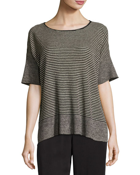 Eileen Fisher Half-Sleeve Linen Knit Striped Top, Natural/Black,