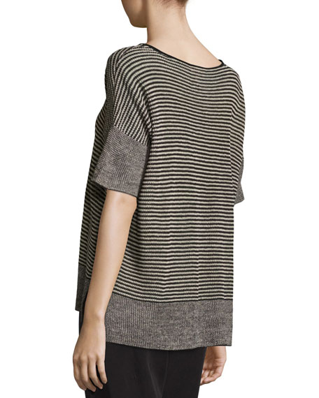 Half-Sleeve Linen Knit Striped Top, Natural/Black