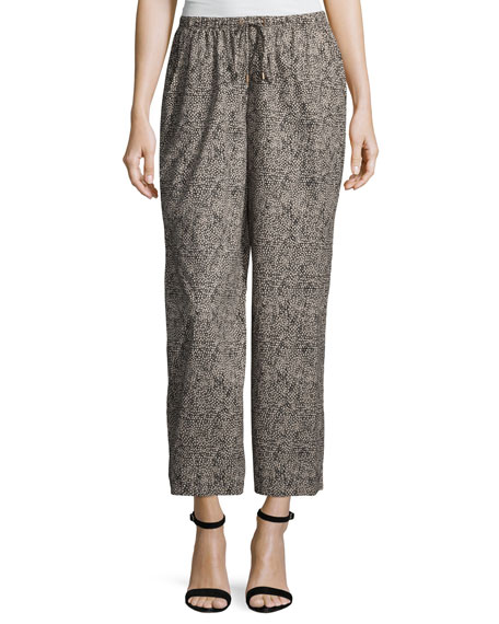 Eileen Fisher Droplet-Print Wide-Leg Cropped Pants