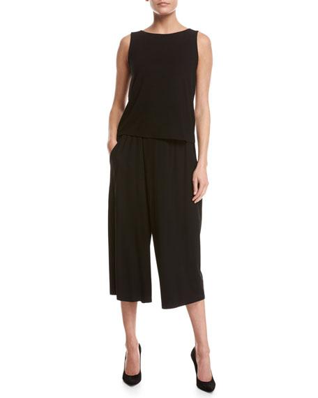 Lightweight Jersey Culottes, Black