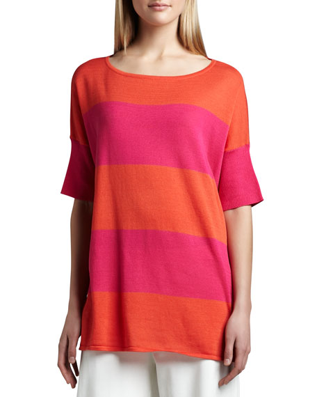 Joan Vass Striped Boxy Sweater, Hot Pink