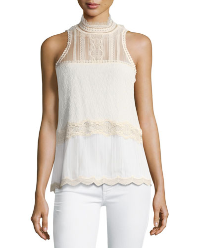 Threaded Tulle Lace Sleeveless Top