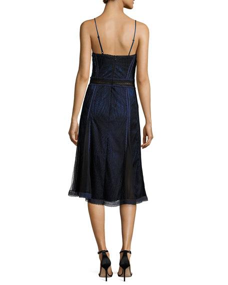 Scallop Ripple Lace Sleeveless Dress, Black/Blue